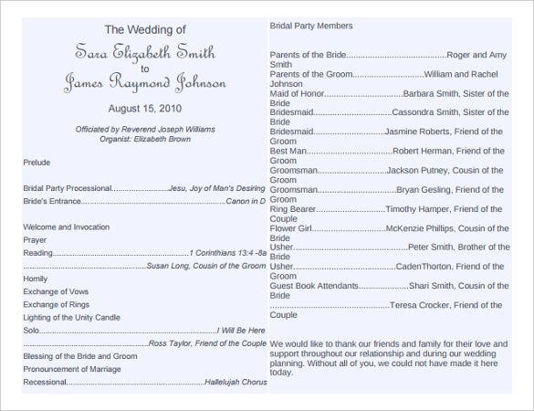 sample wedding programs templates free
