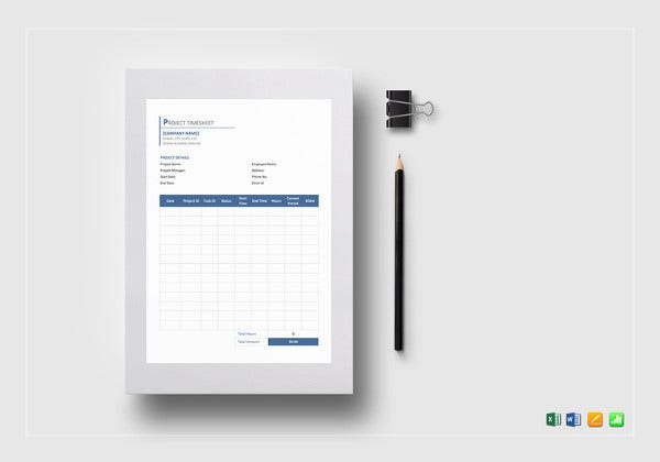 editable project timesheet template