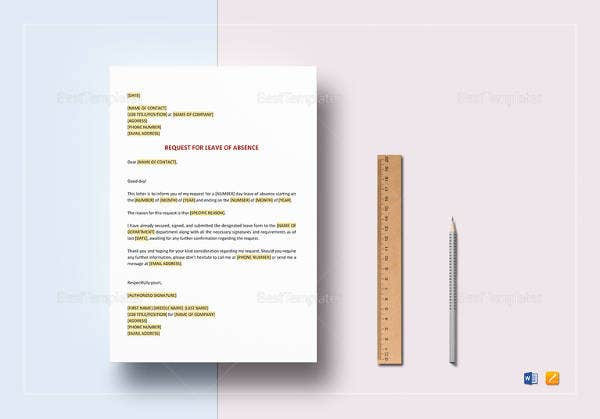 editable-request-for-leave-of-absence-template