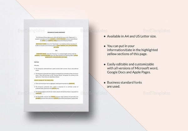 exchange of shares agreement template in word
