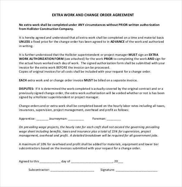 extra work and change order agreement pdf