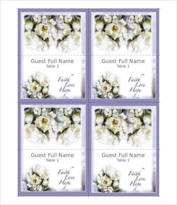 faith love hope place cards wedding program templa
