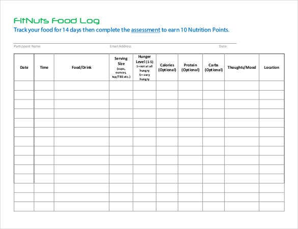 Food Tracking Log Free