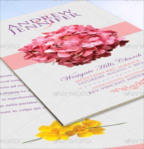 flowery wedding program template psd format download
