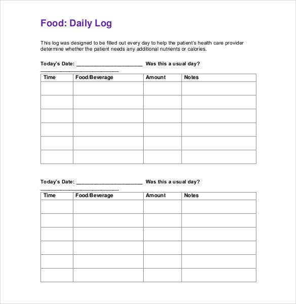 Food Log Template   Free Word Excel Pdf Documents  Free