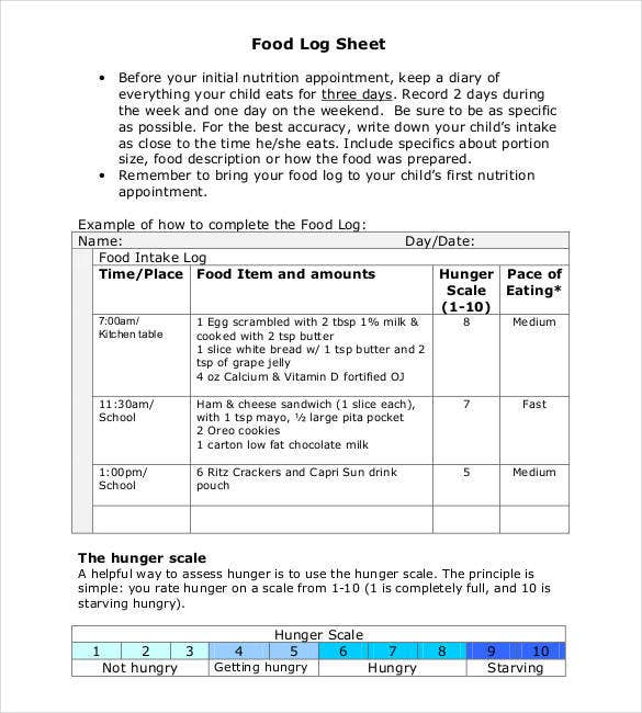 food log sheet