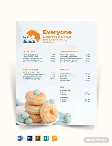 food menu price list template
