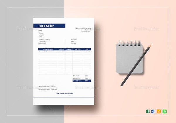 food order excel template