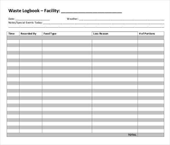 food waste logbook in pdf