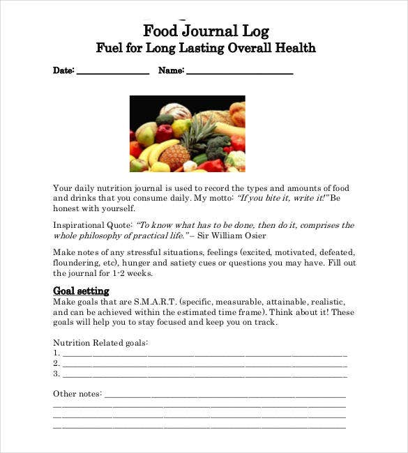 food and activity journal log template