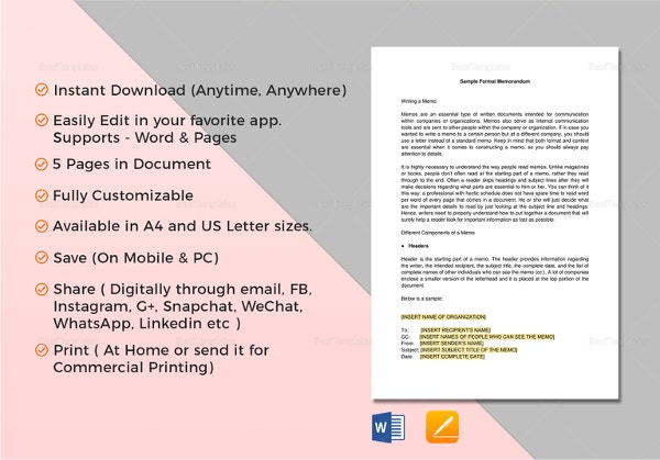 formal memorandum template in word
