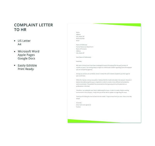 free complaint letter to hr template