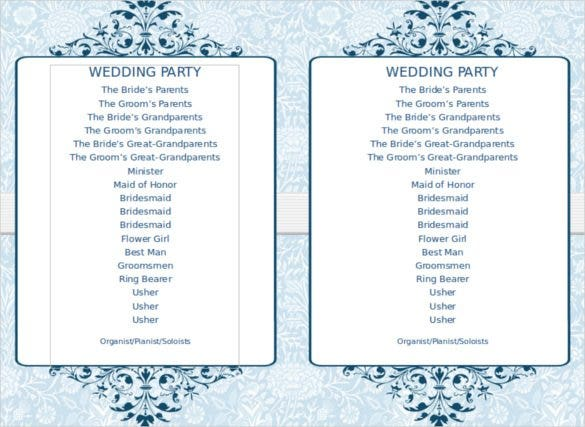 free download blue victortian flat program templat - Free Wedding Program Templates Word