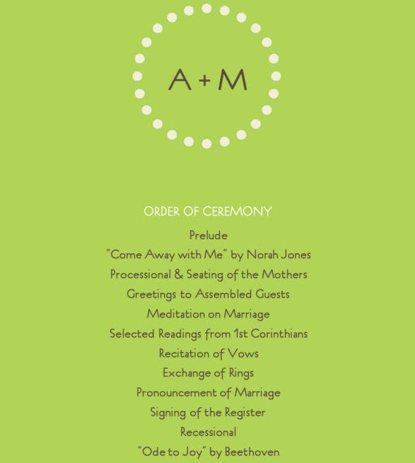 free modern green wedding program template online