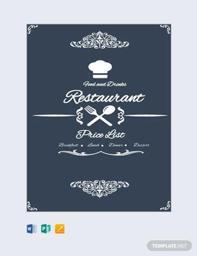 free restaurant menu price list template