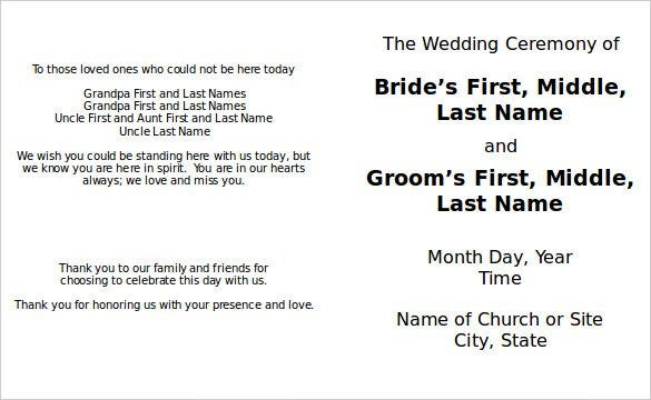 great officiants free wedding program template wor - Free Wedding Program Templates Word