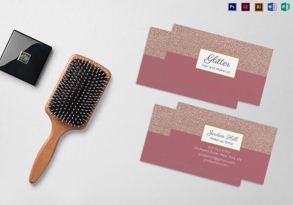 hair and make up business card template