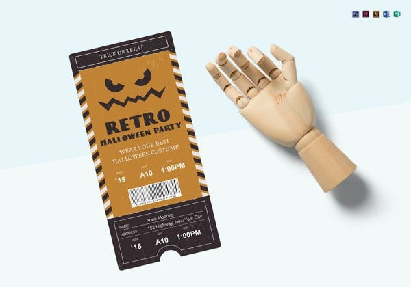 halloween party retro ticket template