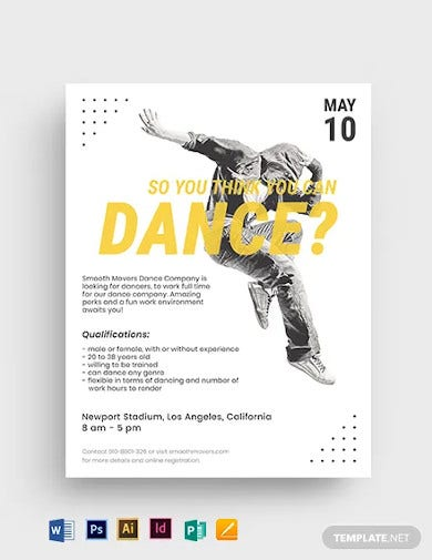 hiphop dance audition flyer template