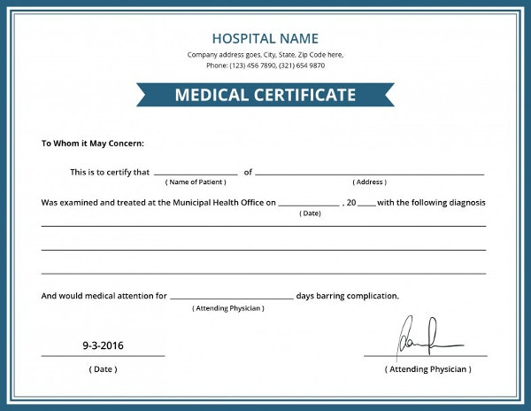Free Hospital Medical Certificate Template- 8+ Free Word ...