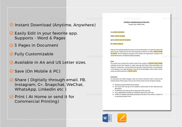 Internal Memo Template In Word