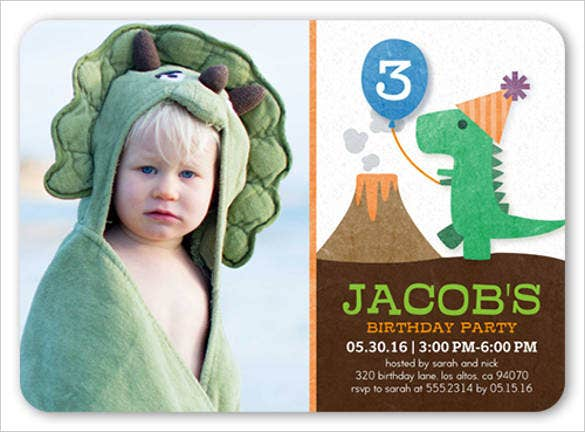 kids colorful party dinosaur birthday invitation with photograph