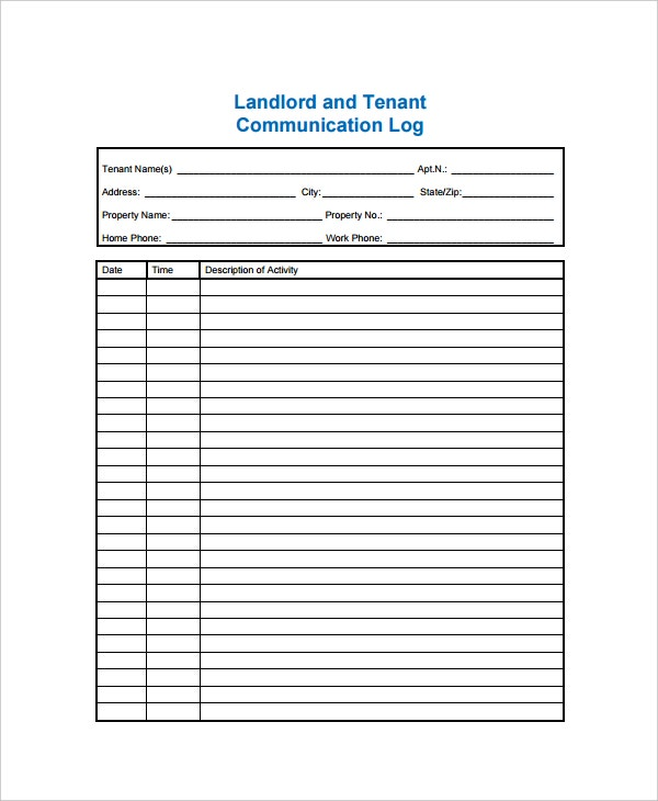 landlord tenant communication log template1