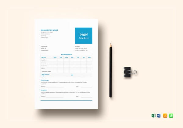 legal and lawyer timesheet template