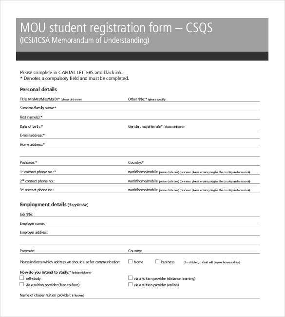 Memorandum of understanding template 35 free sample example mou student registration sample form altavistaventures Choice Image