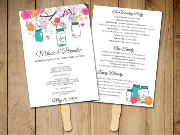 Heart Fan Wedding Program Template PDF Format