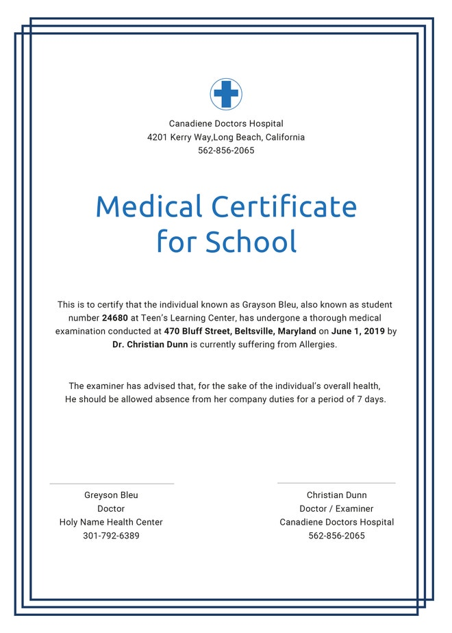 medical certificate for school template