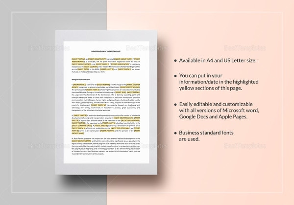Memorandum of understanding template 35 free sample example memorandum of understanding between two individuals party in word altavistaventures Choice Image