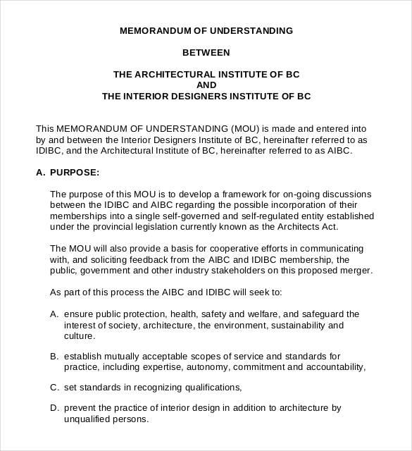 memorandum of understanding architectural service