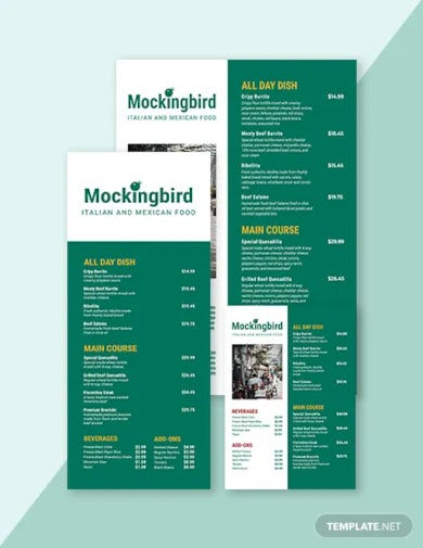 modern price menu template