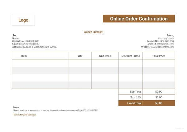 online-order-confirmation-template