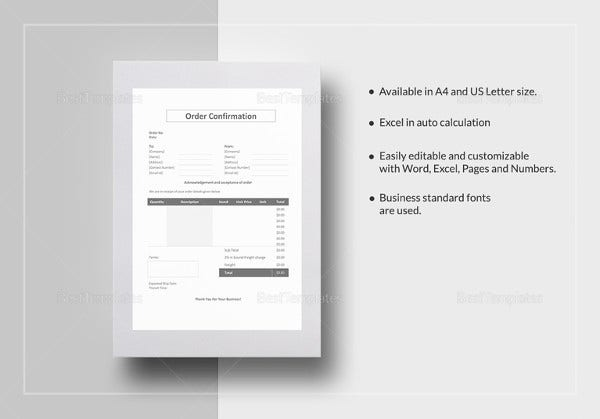 order-confirmation-form-template