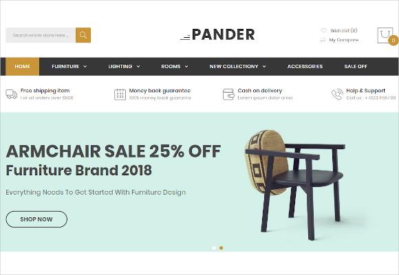 pander furniture responsive opencart theme