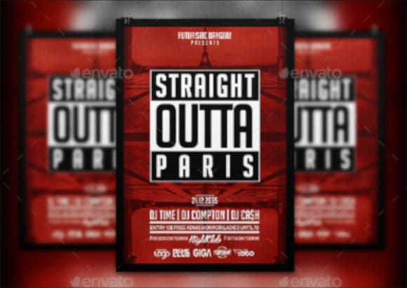 party hip hop flyer psd template
