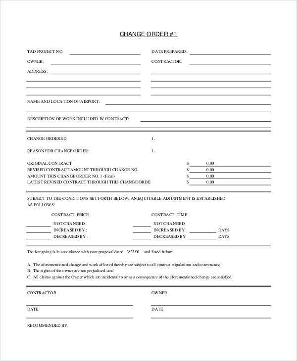 Punchy image inside free printable construction change order forms