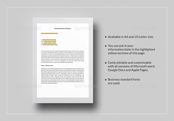 Professional Memo Templates  Free Sample Example Format