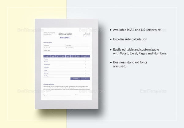 professional timesheet template to print