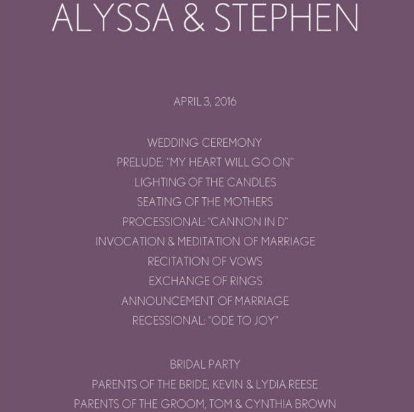 purple chevron wedding program template online edi