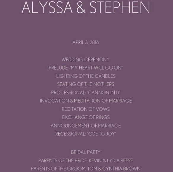 Purple Chevron Wedding Program Template Online Edi