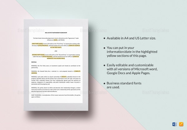 Partnership Agreement Template  Free Word Pdf Document Download