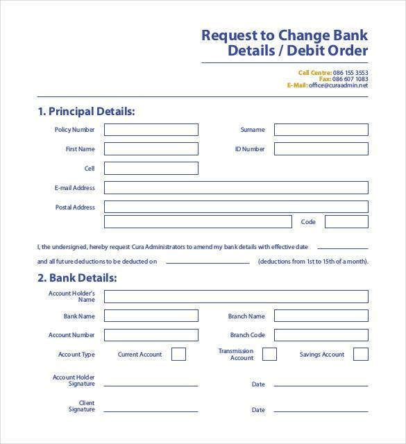request to change bank order form
