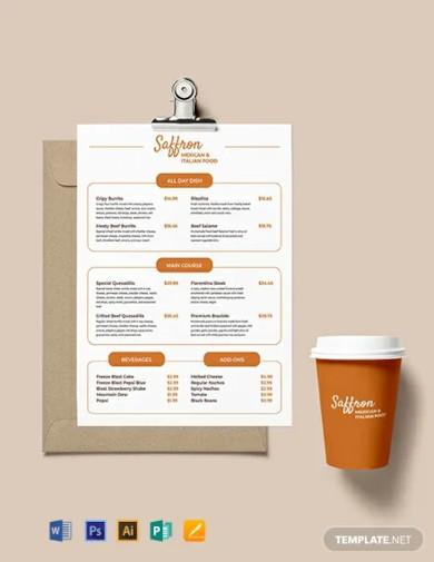 restaurant price menu template