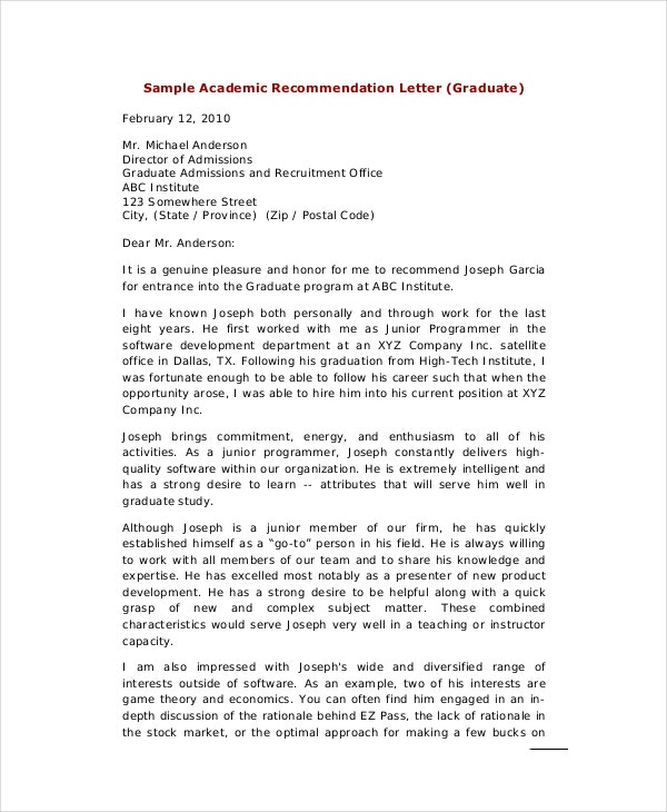 sample academic reference letter court