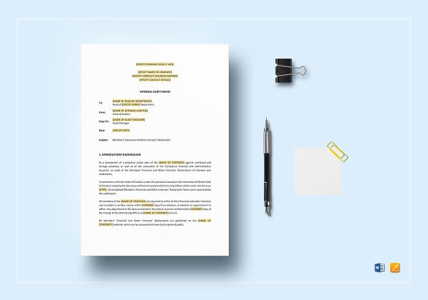 sample internal audit memo template