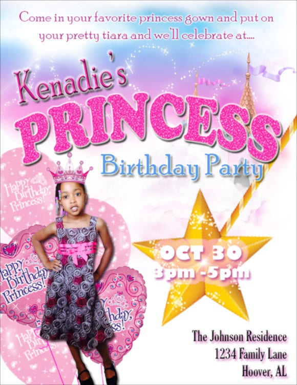 sample kids princess party invitation