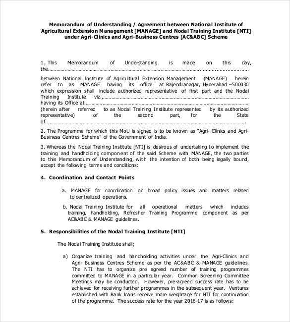Memorandum Of Understanding Template   Free Sample Example